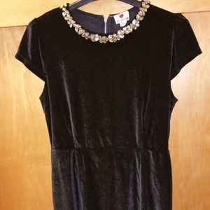 Black Velvet Dress wit Beautiful Crystal Neckline